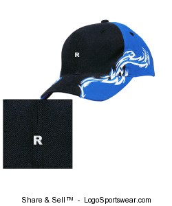 Colorblock Racing Cap with Flames Design Zoom